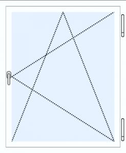 Draai-kiep raam, scharnieren rechts